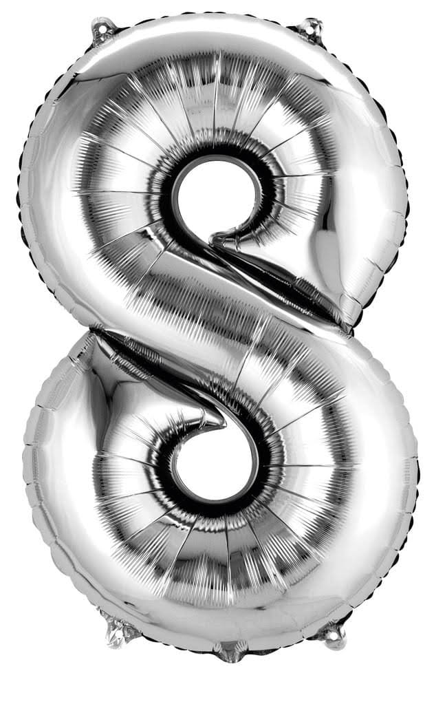 Amscan Number 8 Super Shape Foil Balloon - Silver