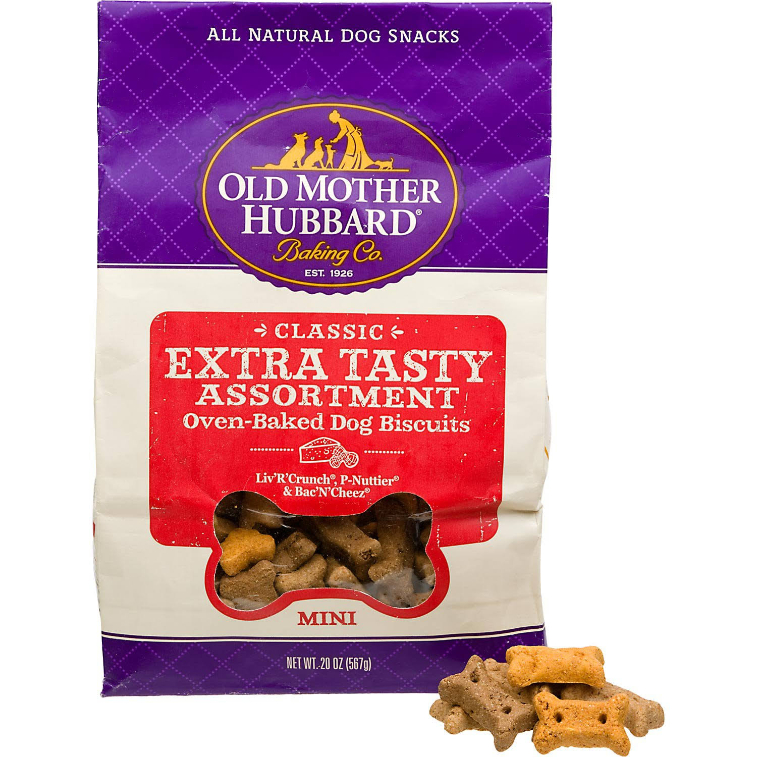 Old Mother Hubbard Crunchy Classic Snacks For Dogs - Mini, Extra Tasty Assortment, 20oz