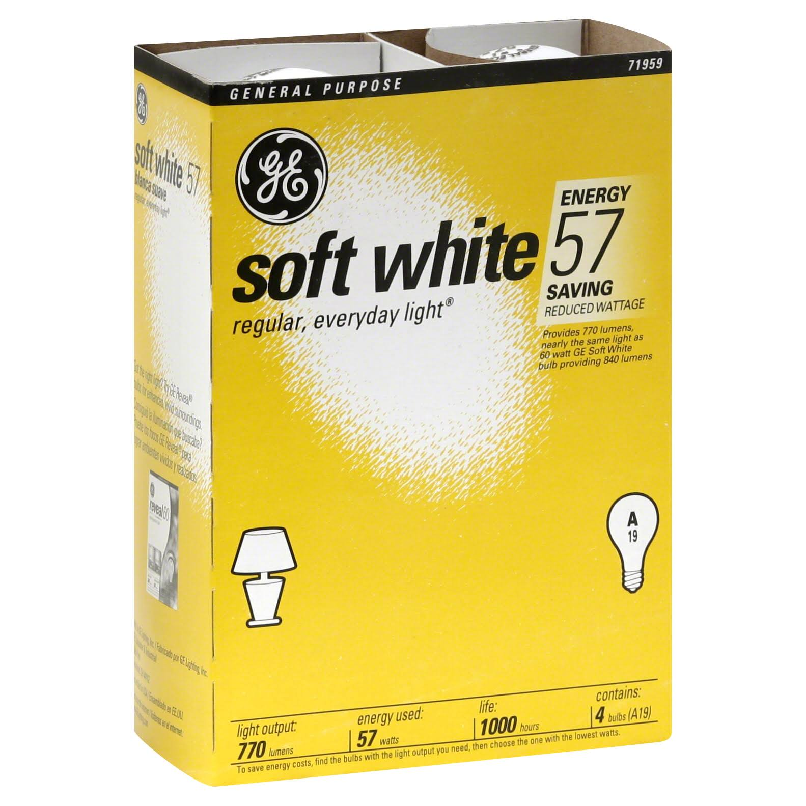 GE Light Bulbs, Soft White, 57 Watt, A19 - 4 bulbs