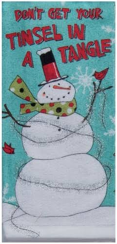 Kay Dee Designs Snowman Tinsel Tangle Kitchen Towel Blue, Red, White One Size
