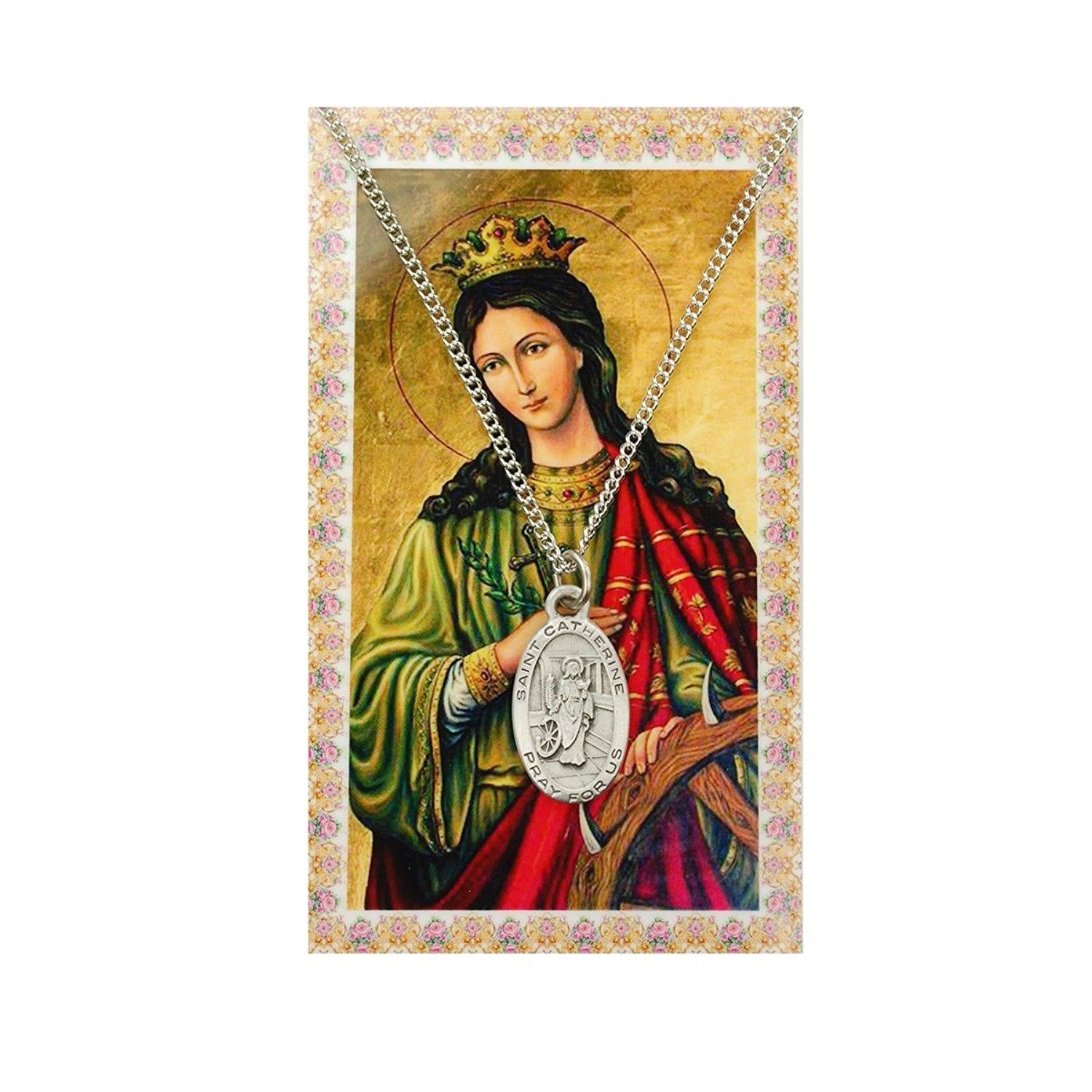 Oval St. Catherine of Alexandria Medal and Prayer Card Set