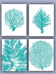 Coral Colored Decorative Items by Sea Fan Collection Prints Set Of 4 11x14 Seafan Coral Home