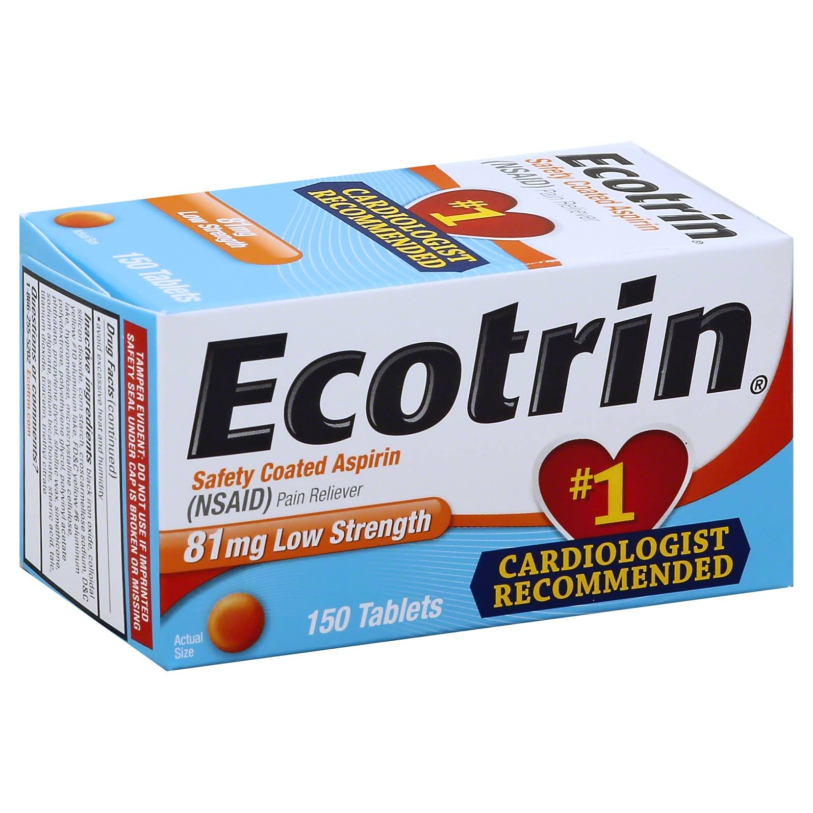 Ecotrin Low Strength Aspirin Tablets - 81mg, x150