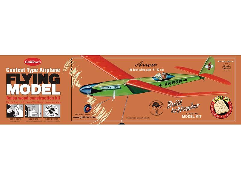 Guillows Arrow 702 Powered Balsa Aircraft Flying Model Kit - 28""