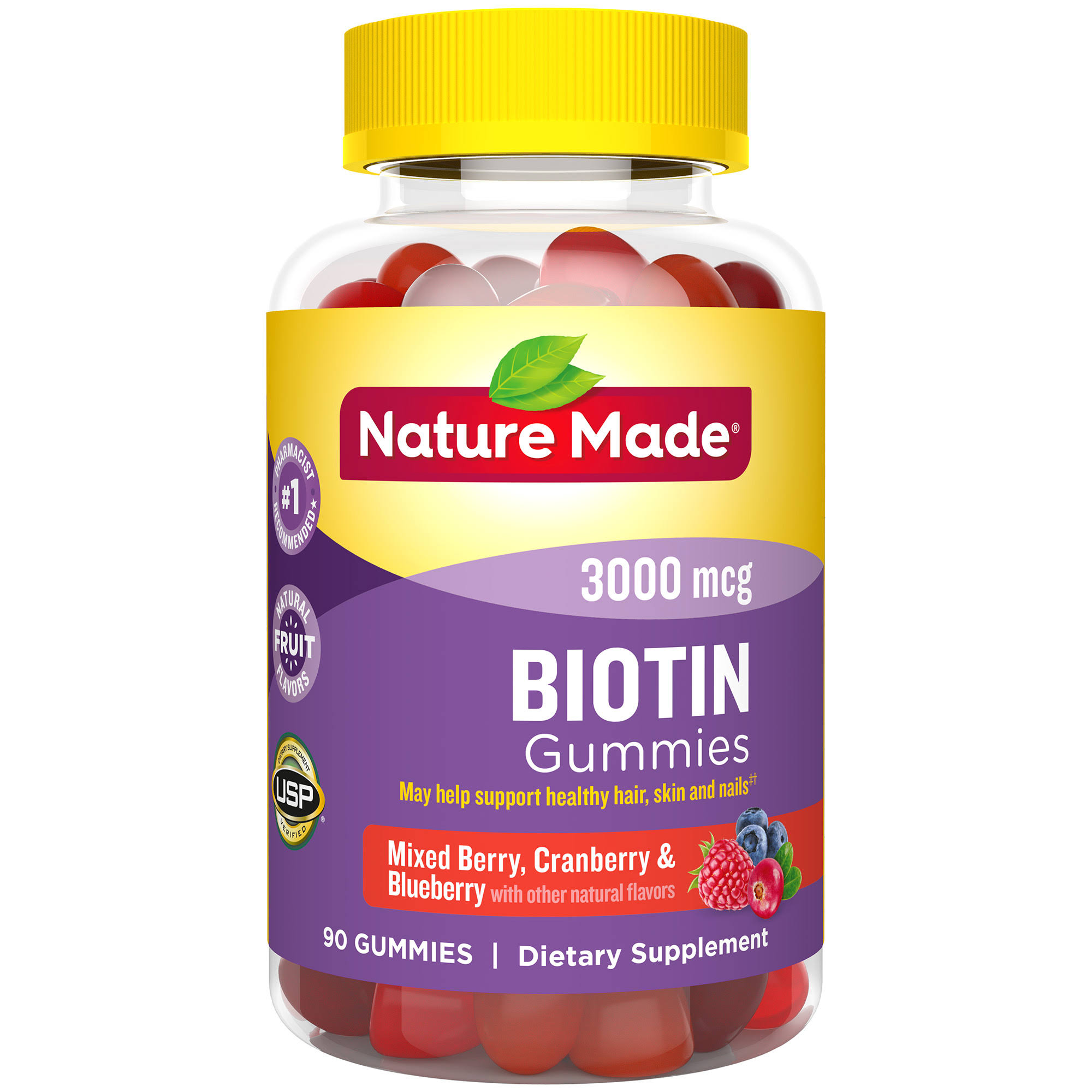 Nature Made Biotin Supplement Fruit Flavored Gummies - 90ct