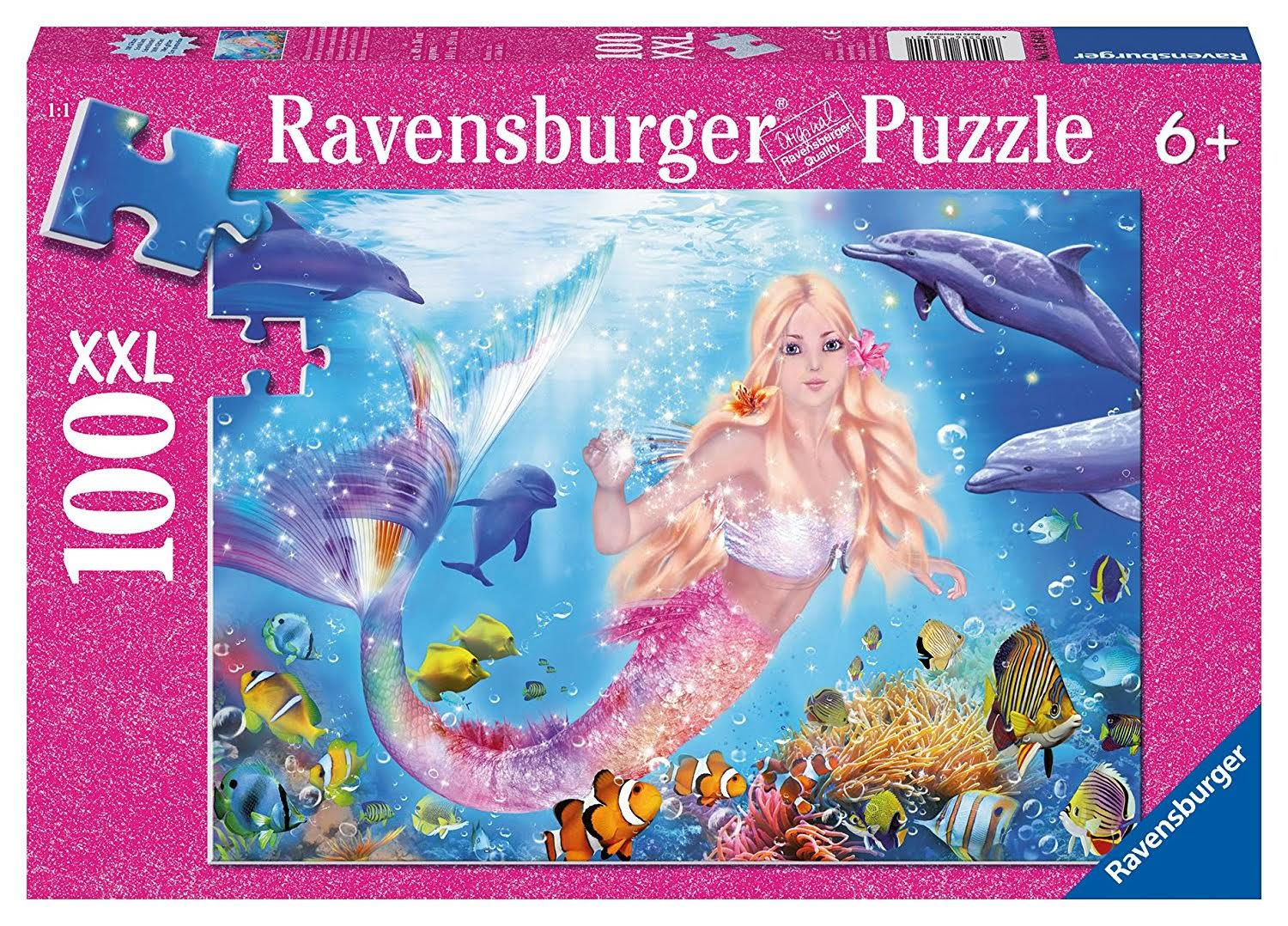 Ravensburger Mermaid and Dolphins Glitter Puzzle - 100pcs
