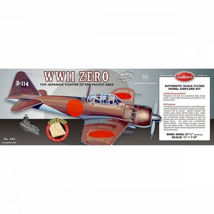 Guillow's WWII Mitsubishi Zero Aircraft Plastic Model Kit