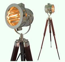 Surveyor Floor Lamp Tripod by Chrome Look Vintage Design Searchlight Spotlight Telescopic Tripod