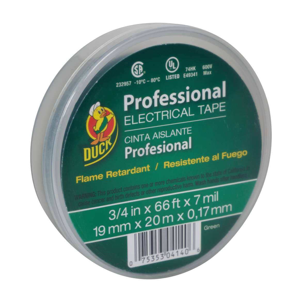 "Duck 299014 Professional Grade Electrical Tape - Green, 3/4"" x 66'"