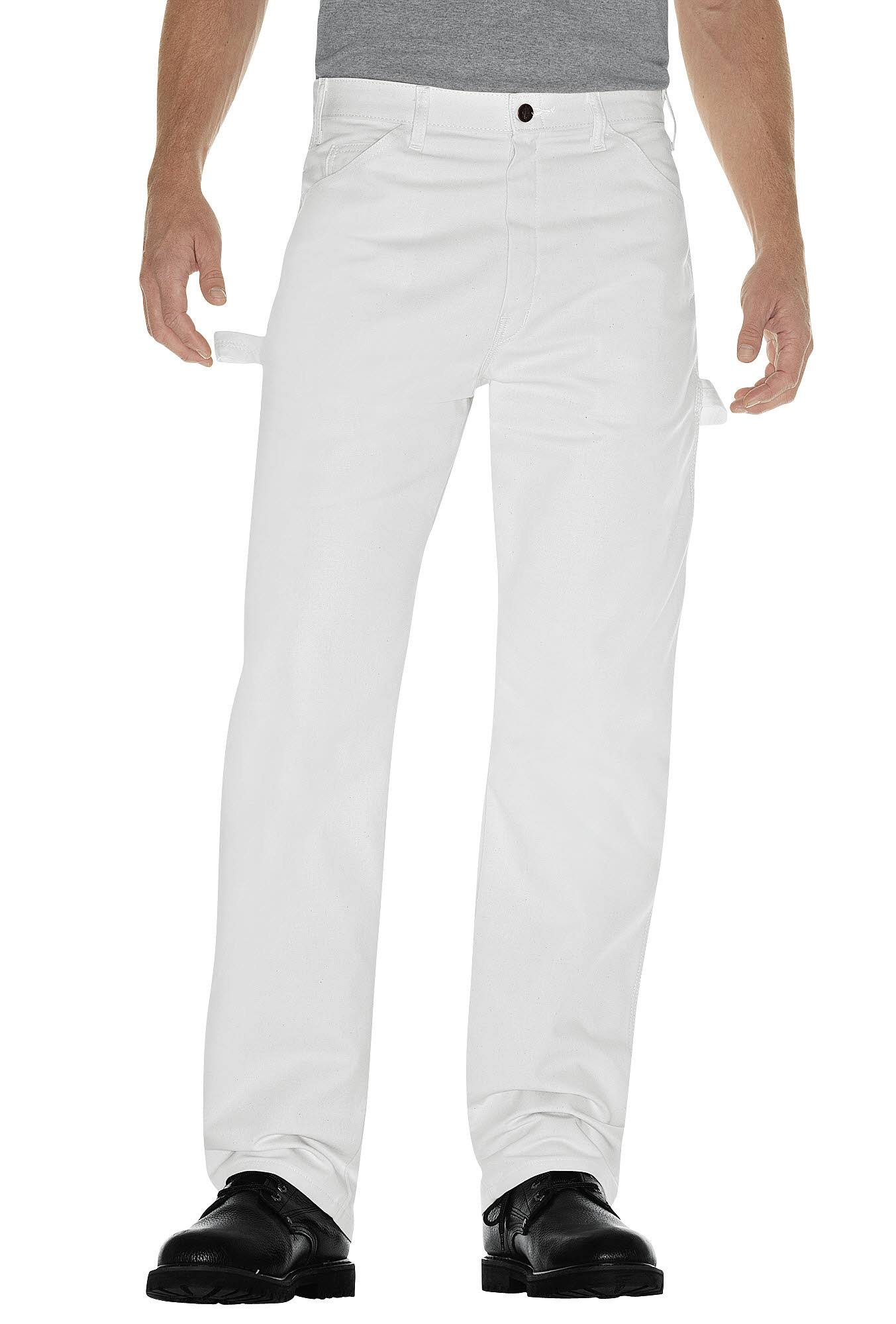 "Dickies Men's Utility Pants - Relaxed Fit, White, 36"" x 30"""
