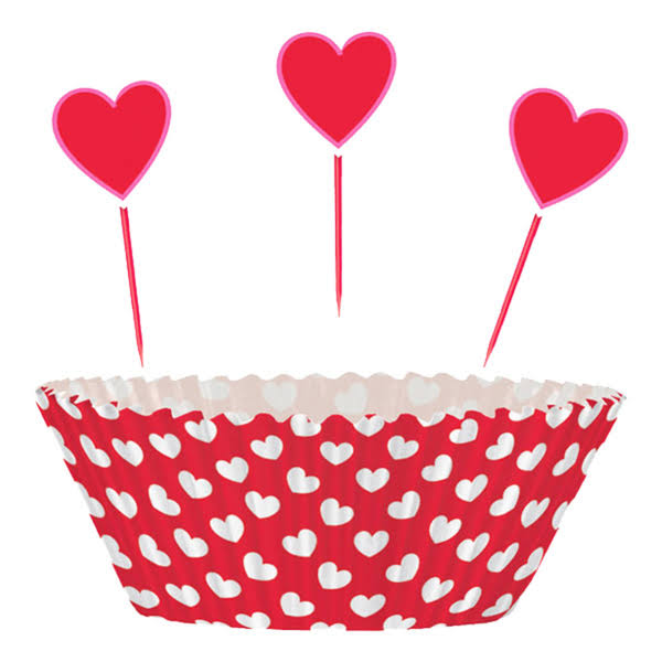 Unique Valentine Hearts Cupcake Decorations Kit - x24