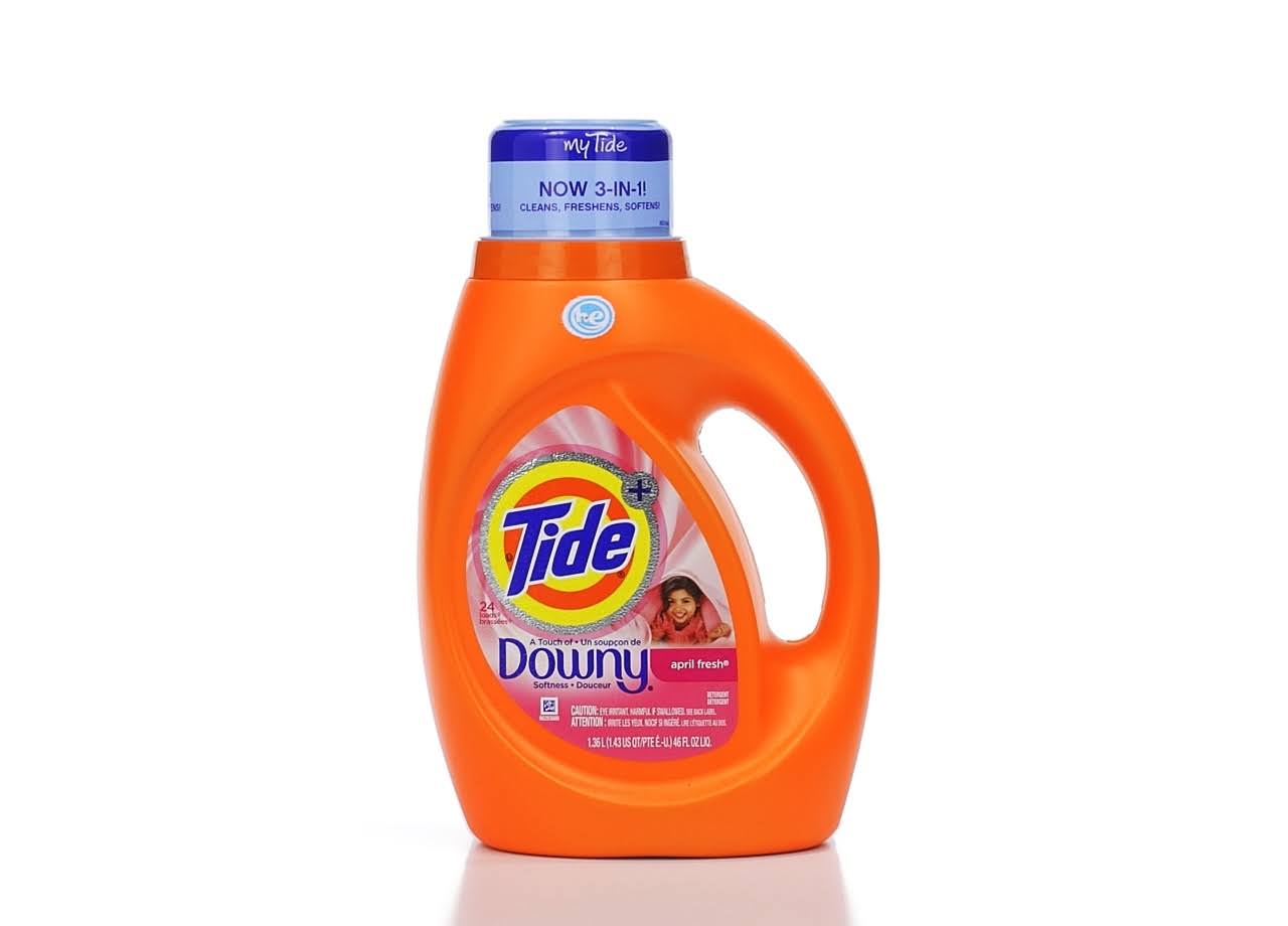Tide Plus Downy Liquid Laundry Detergent - April Fresh, 1.36l