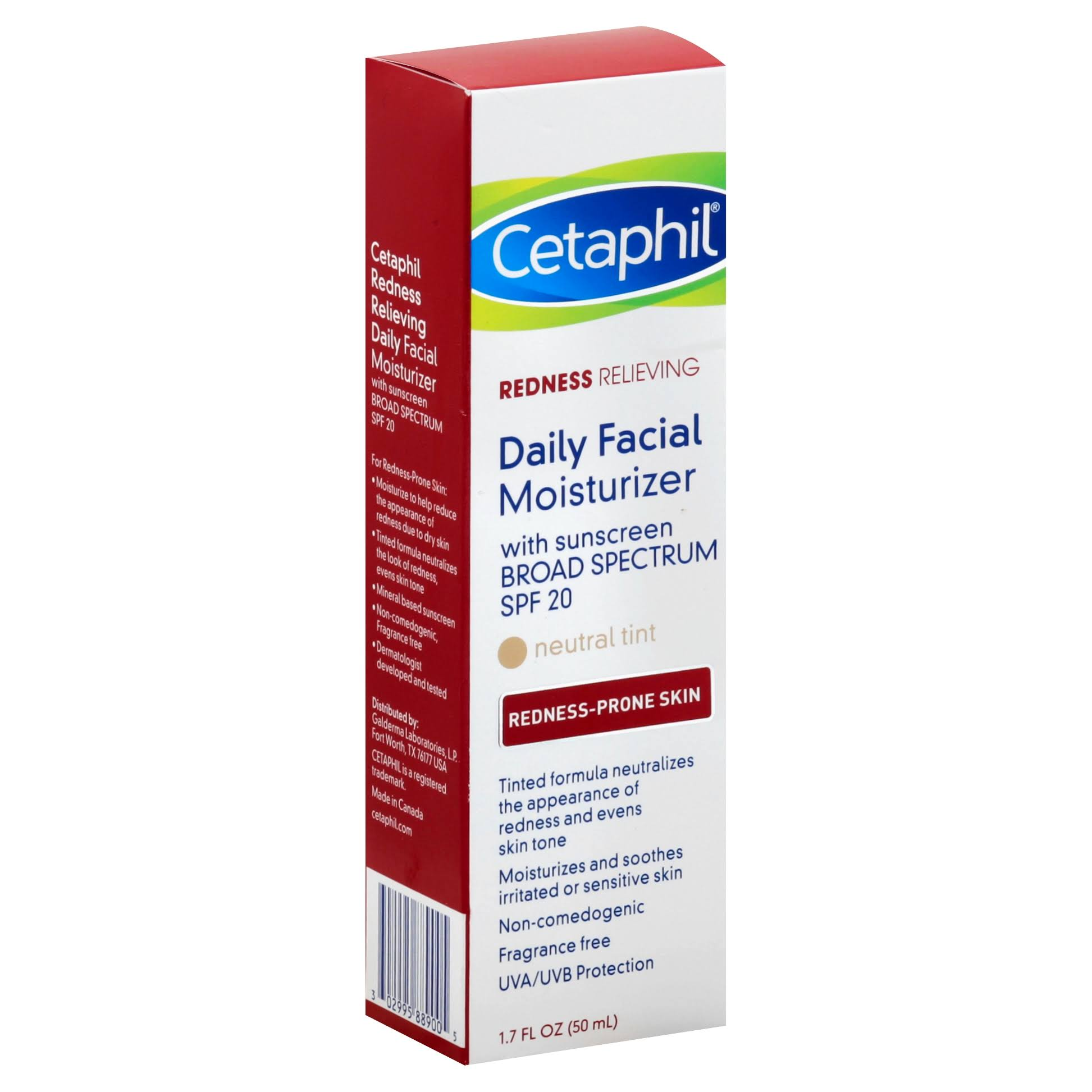 Cetaphil Redness Relieving SPF 20 Daily Facial Moisturizer - with Sunscreen Broad Spectrum, 1.7oz