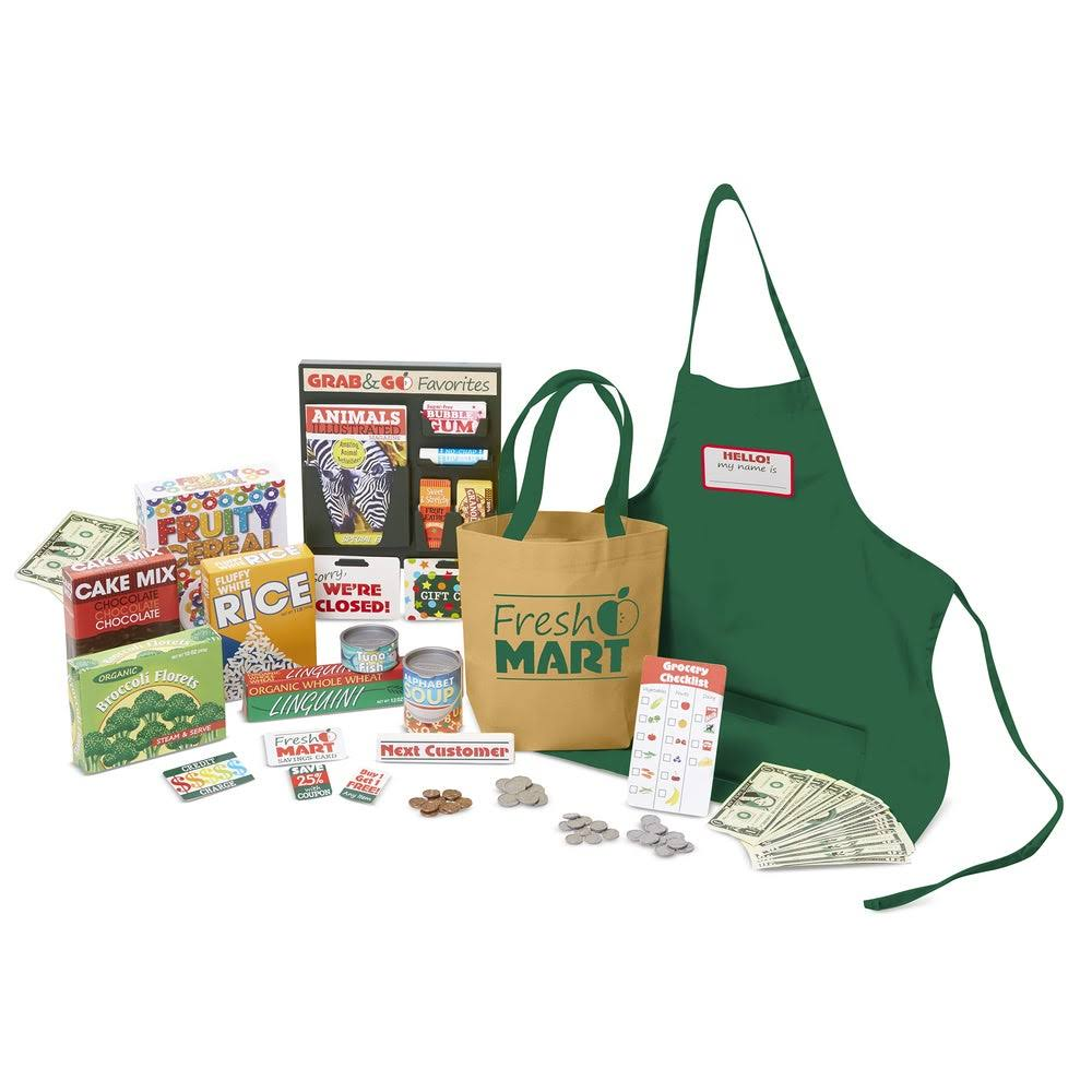 Melissa and Doug Fresh Mart Grocery Store Food and Role Play Companion Set - 84pcs