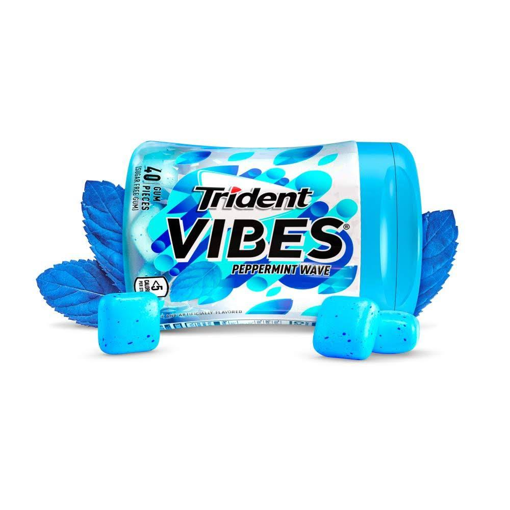 Trident Vibes Gum, Sugar Free, Peppermint Wave - 40 pieces