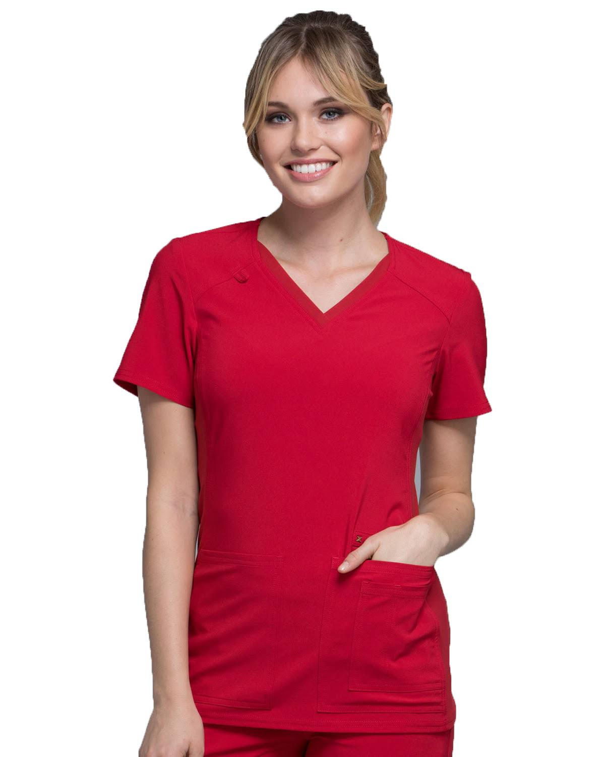 Cherokee CK605 Women V-Neck Knit Panel Top Red L