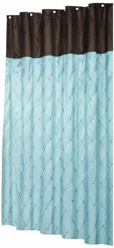 Carnation Home Fashions Diamond Patterned Embroidered Shower Curtain, 180cm by 180cm , Blue and Brown | Furniture | Best Price Guarantee