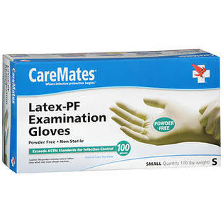 Caremates Disposable Medical Exam Gloves Latex - Small, 100ct