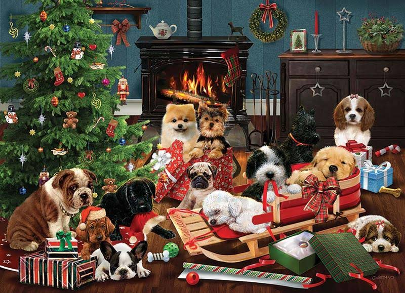 Cobble Hill Christmas Puppies 500 Piece Christmas Jigsaw Puzzle