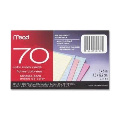 "Mead Ruled Colored Index Cards - 3""x5"", 70 Color Index Cards"