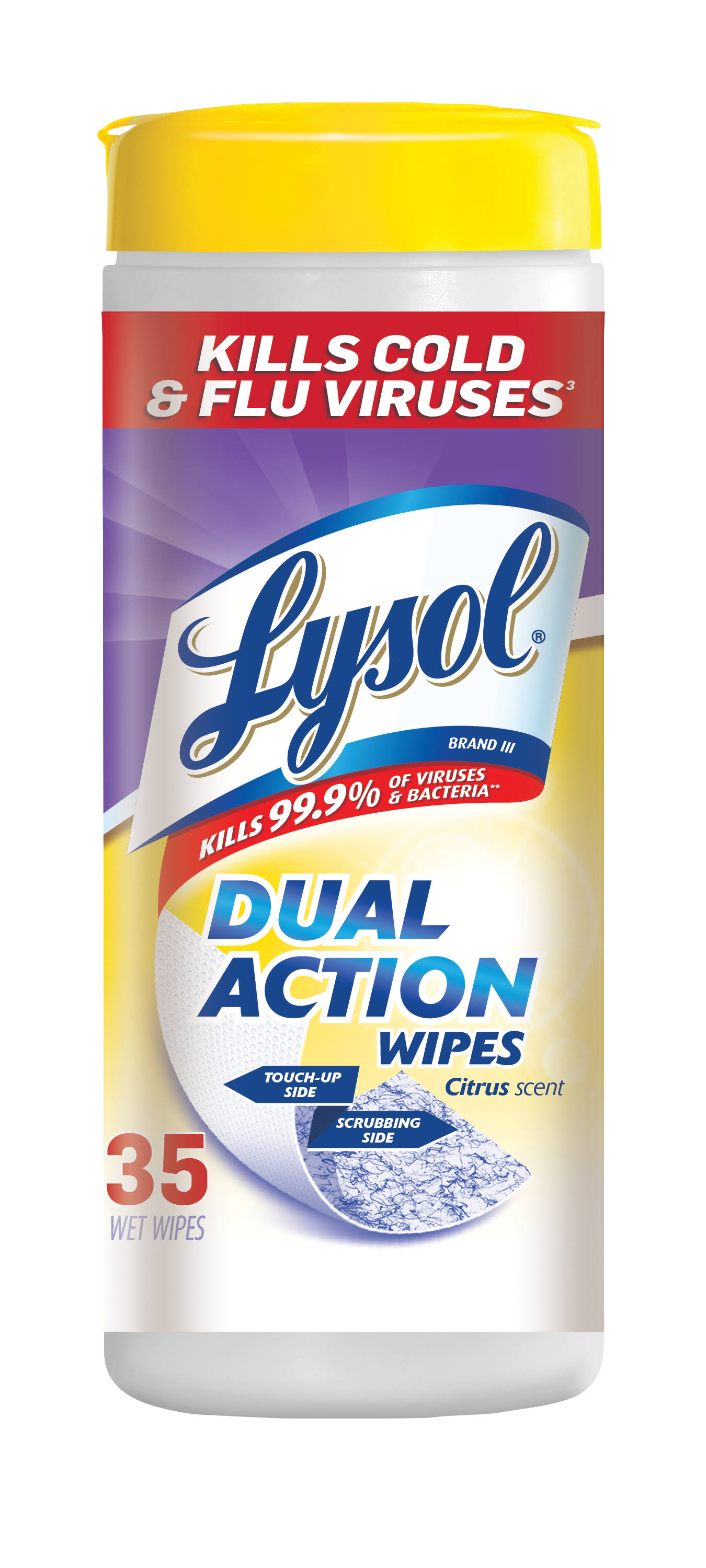 Lysol Dual Action Disinfecting Wipes - Citrus Scent, 35 ct