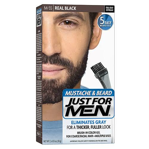 Just For Men Mustache and Beard Brush-In Color Gel - M-55 Real Black, 0.5oz, 2ct