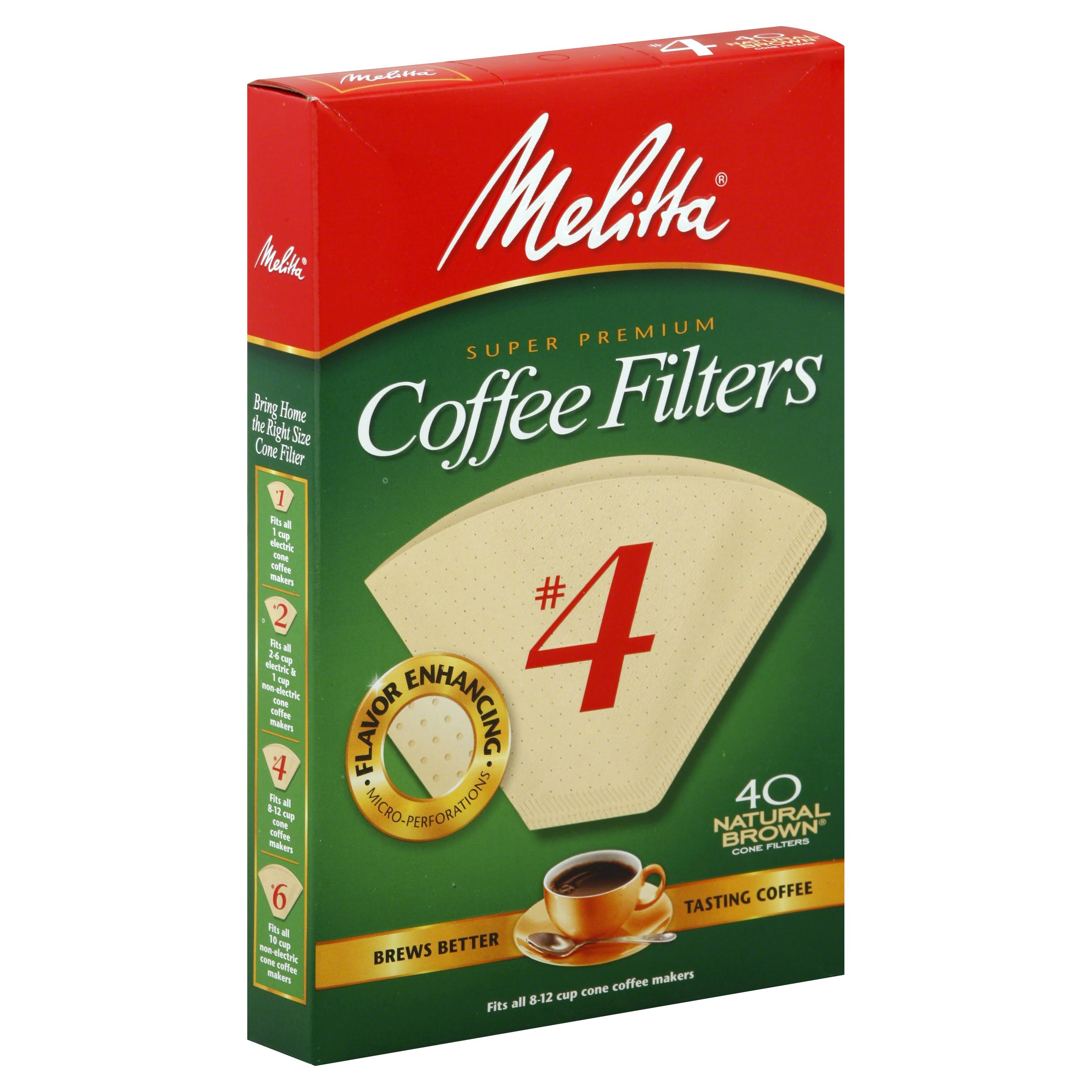 Melitta Cone Coffee Filters - #4, Natural Brown, 40 Count