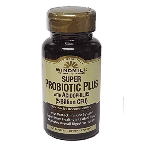 Windmill Natural Vitamins Super Probiotic Plus with Acidophilus (5 Billion CFU) Capsules, 60 EA