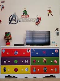Superhero Bedroom Decor Nz by Decoupage Avengers Them Dresser Using Old Comic Books