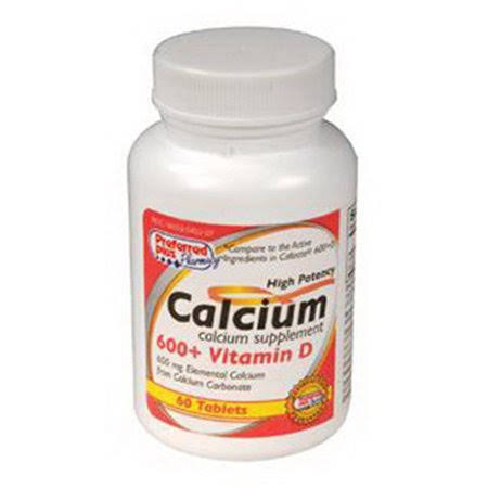 Preferred Plus Calcium 600 Plus Vitamin D Tablets - 60ct