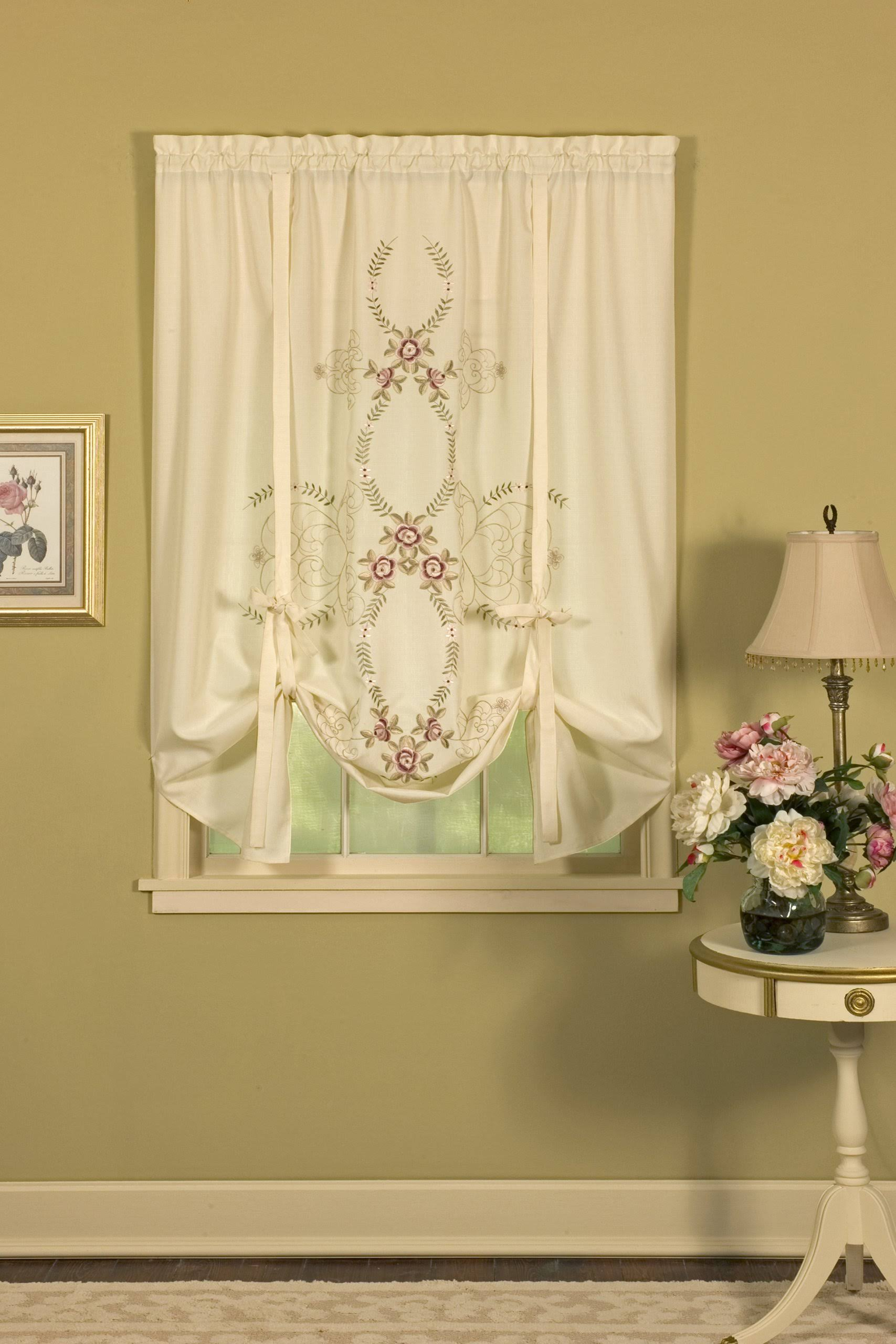 "Today's Curtain Verona 63"" Tie-Up Shade, Ecru Rose"