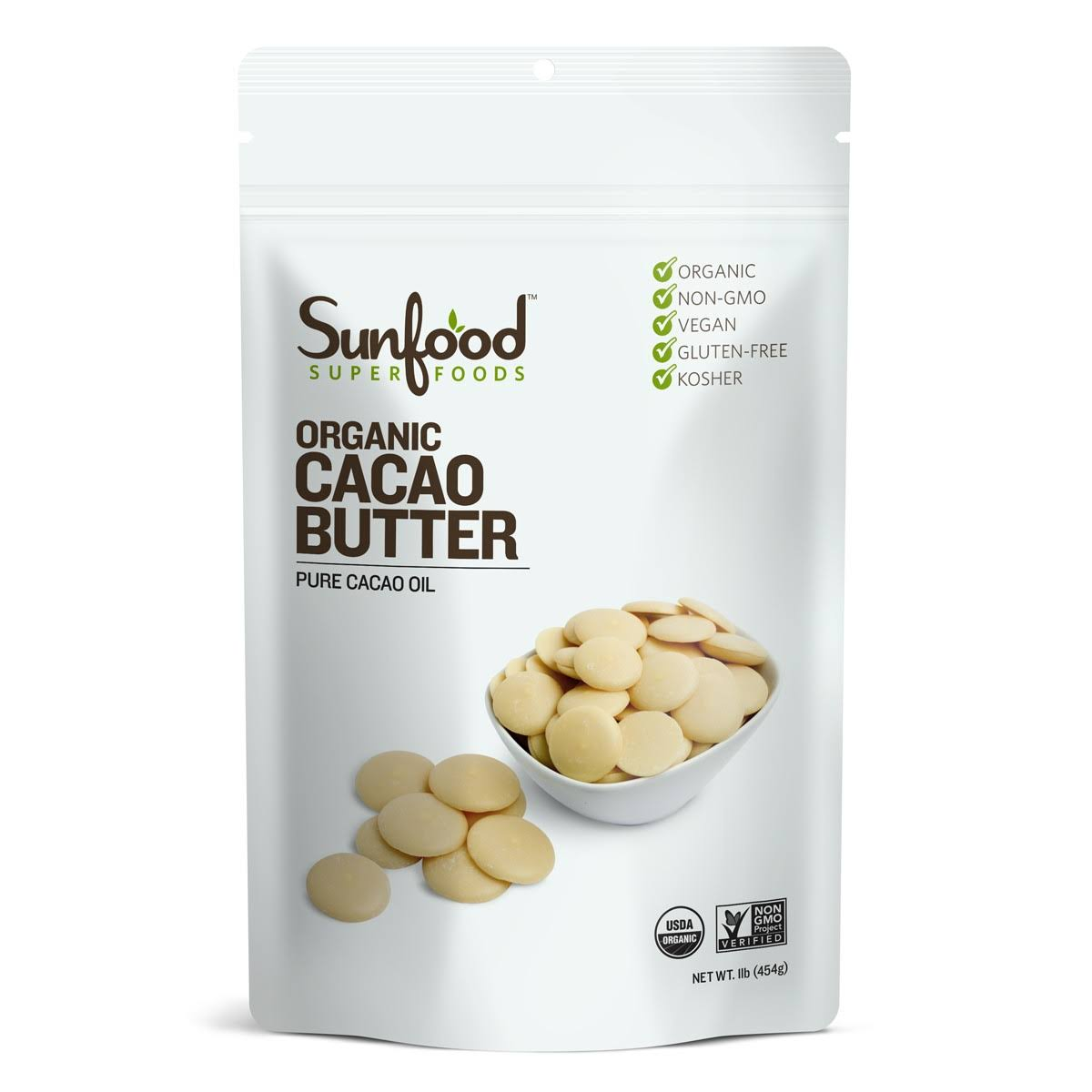 Sunfood Raw Organic Cacao Butter - 1Lb