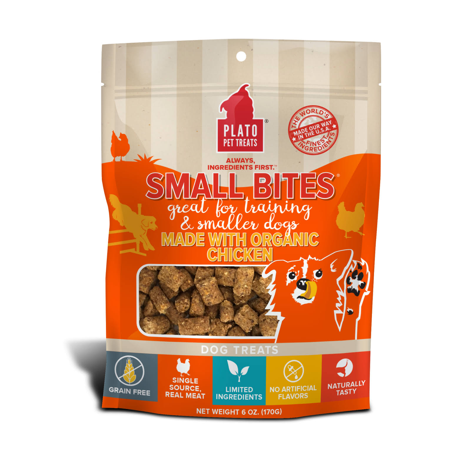 Plato Small Bites Organic Chicken Dog Treats - 2.5 oz