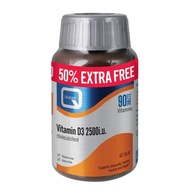 Quest Vitamins Vitamin D Tablets - 2500iu, x90
