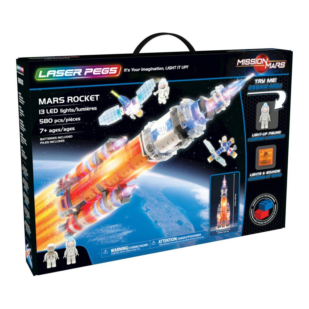 Laser Pegs Building Blocks Playset - Mission Mars Collection, 580pcs