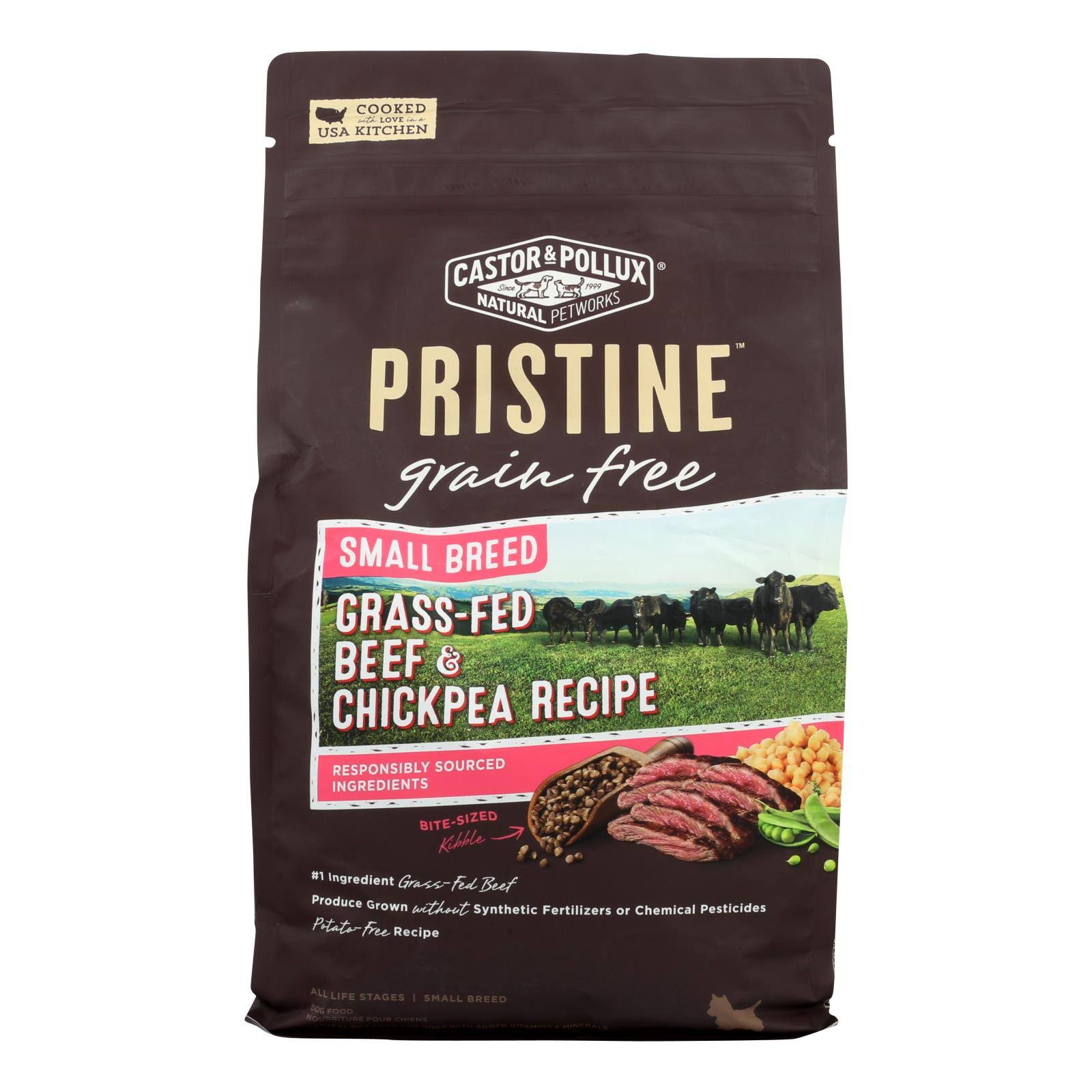 Castor & Pollux Pristine Grain Free Small Breed Grass-Fed Beef & Chickpea Recipe Dry Dog Food, 4 lbs.