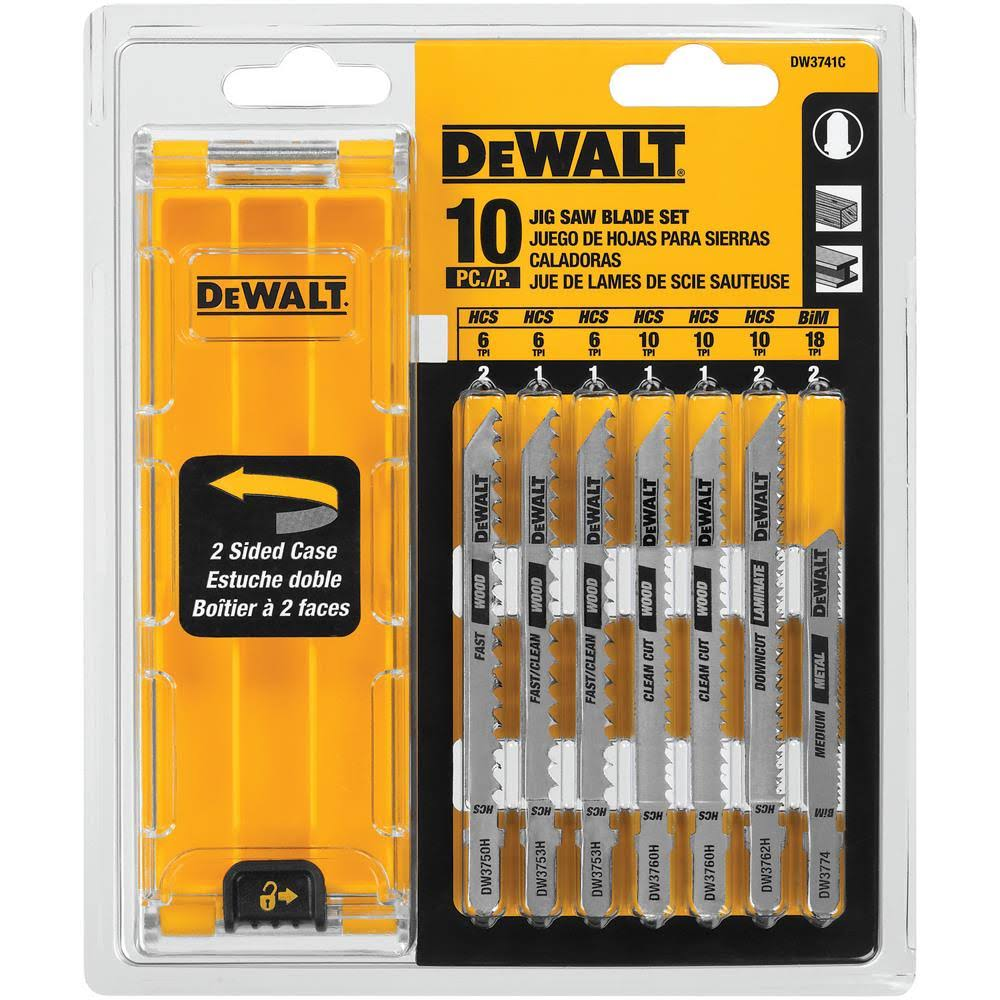 Dewalt Dw3741c T-Shank Jig Saw Blade Set - with Case, 10pcs