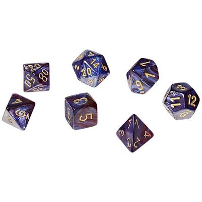 Chessex Scarab Polyhedral Die Set - Royal Blue and Gold, 7pk