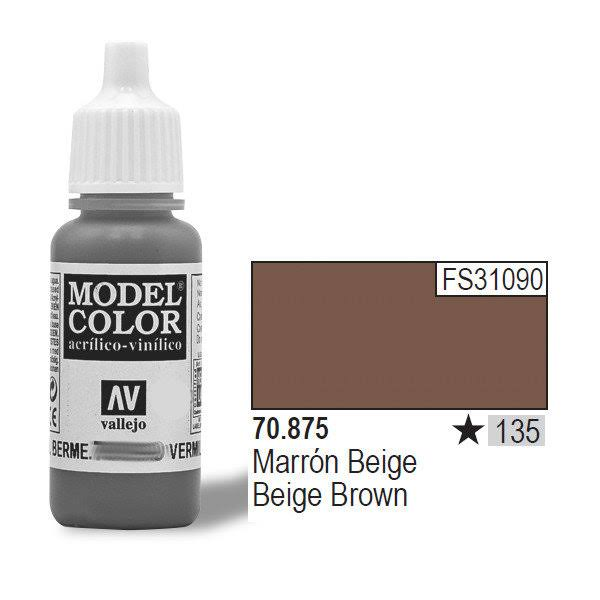 Vallejo Model Color Acrylic Paint - Beige Brown, 17ml