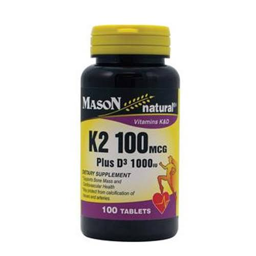Mason Natural K2 Plus D3 Dietary Supplement - 100ct