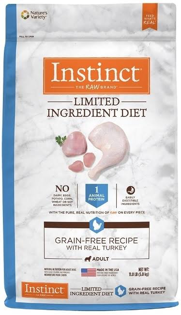 Natures Variety Instinct Limited Ingredient Diet Grain Free Recipe Dog Food with Real Turkey - 11lbs