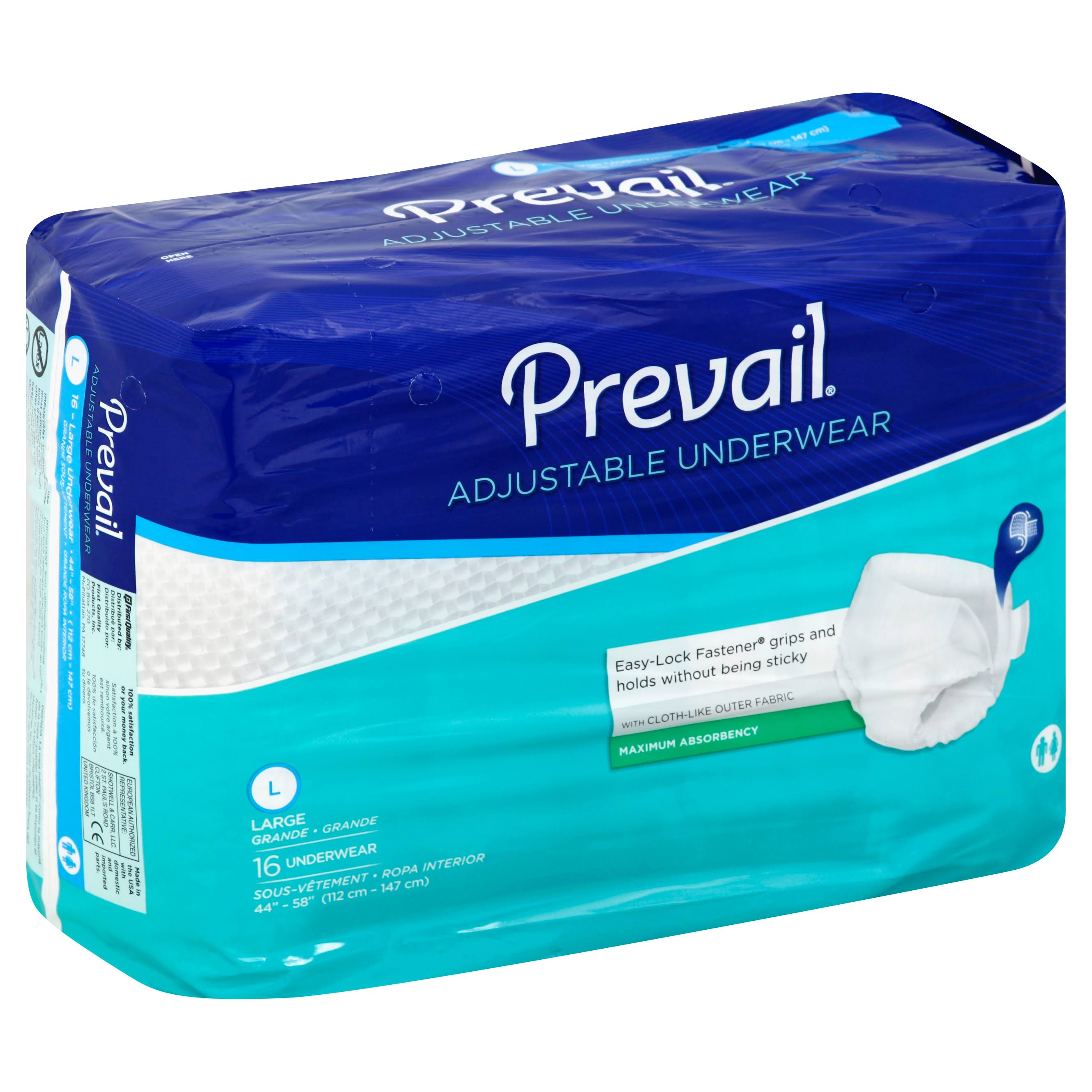 Prevail Incontinence Underwear - Maximum Absorbency, Large, 16ct