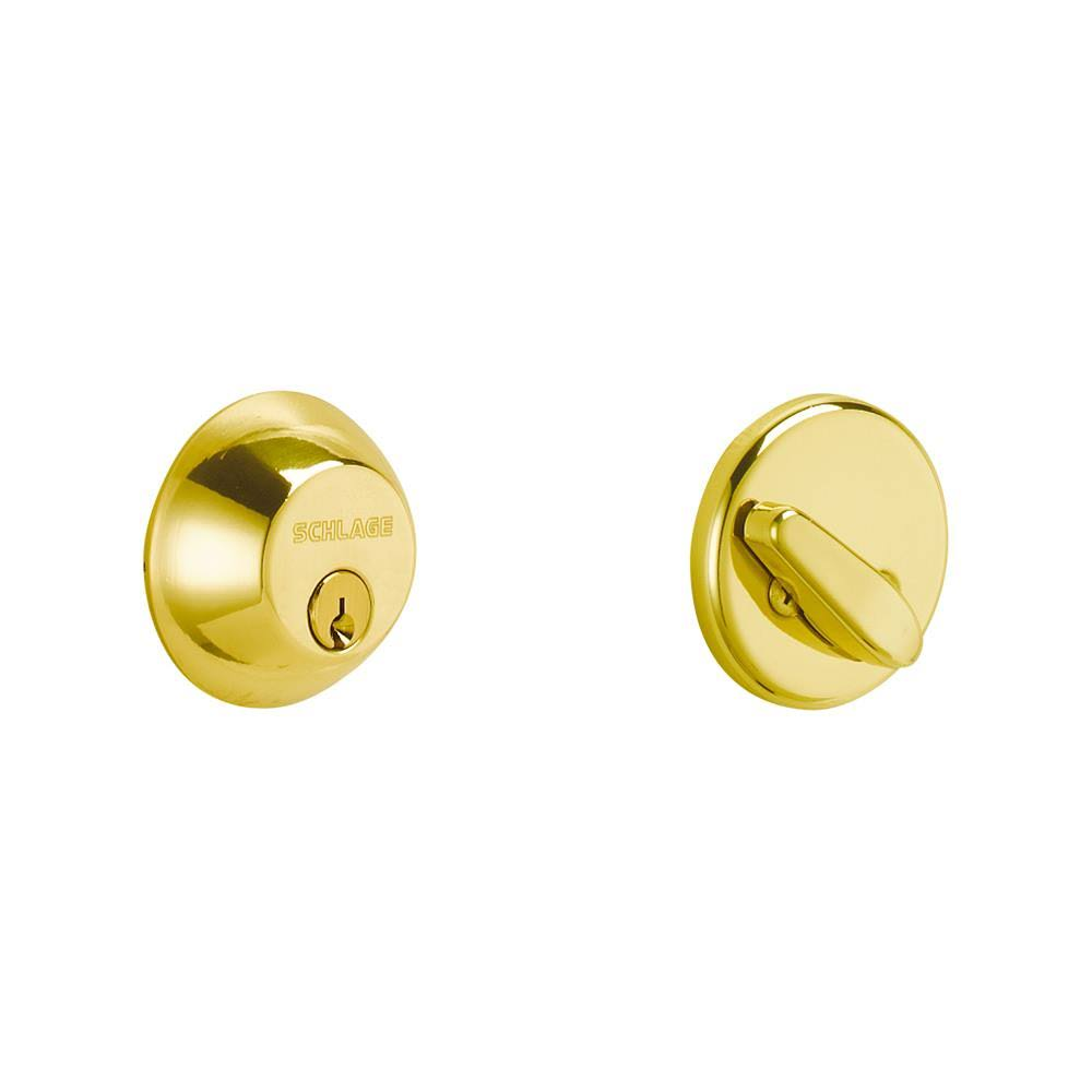 Schlage Single Cylinder Deadbolt - Bright Brass