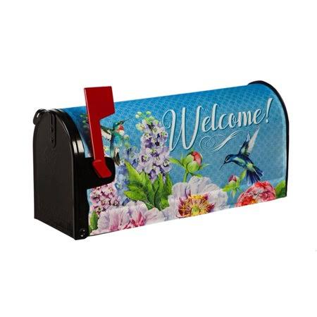 Evergreen Mailbox Cover -Peonies and Hummingbirds