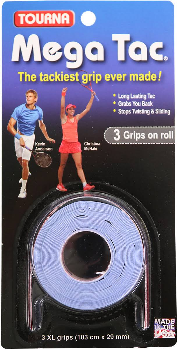 Tourna Mega Tac Tennis Overgrip - X-Large, 3 Pack, Blue