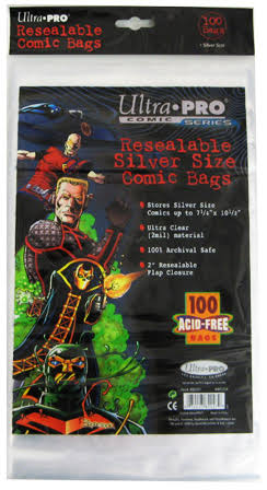 "Ultra Pro Resealable Silver Size Comic Bags - 7 1/4"" x 10 1/2"", 100ct"