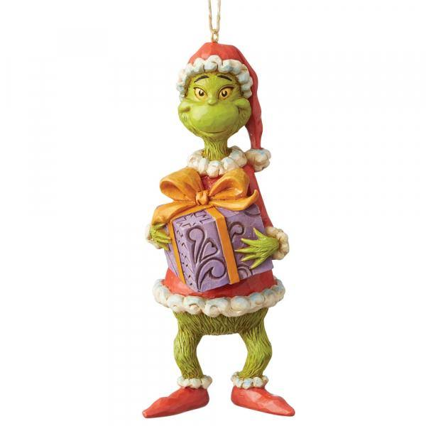 Jim Shore Dr. Seuss Grinch Holding Present Ornament 6004067