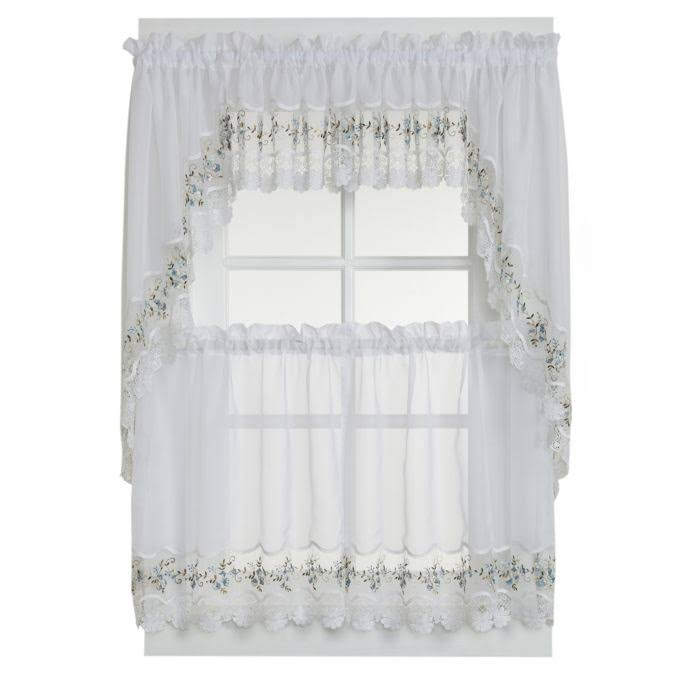 Vintage Embroidered Macrame Trim Tier Curtain White-Blue