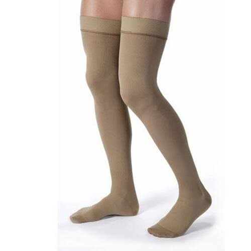 Jobst Men's 20-30 mmHg Closed Toe Thigh High Support Socks - Khaki, M