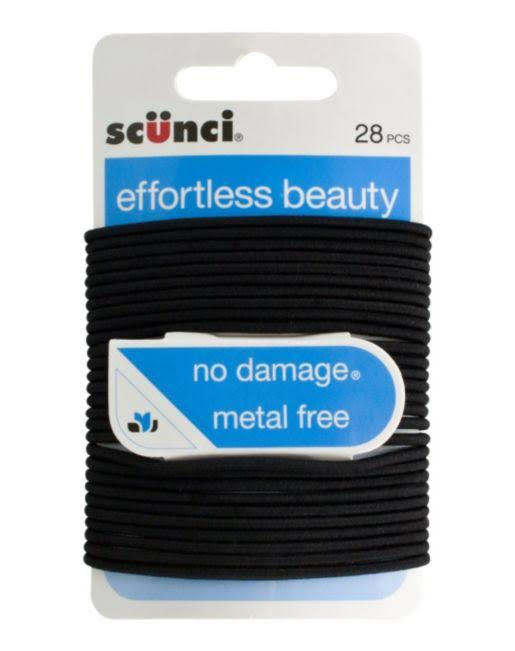 Scunci Thin Black Elastics 28 Pack